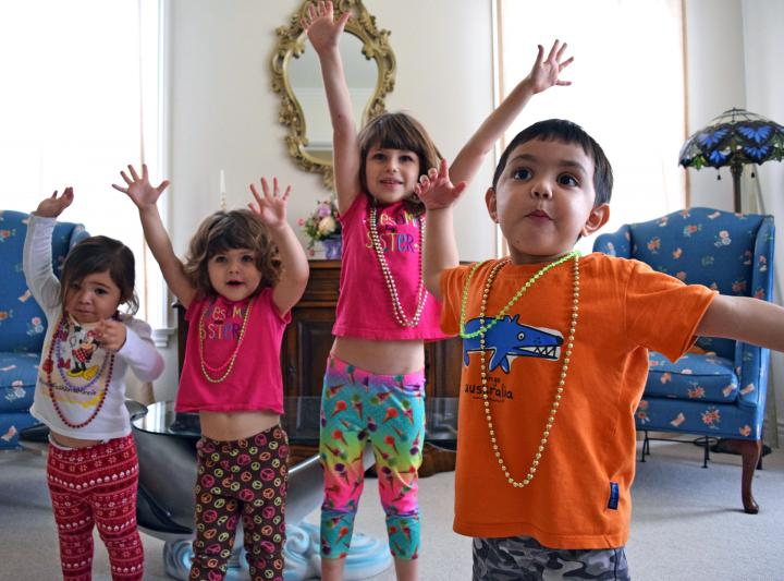 Kids with Mardi Gras Beads
