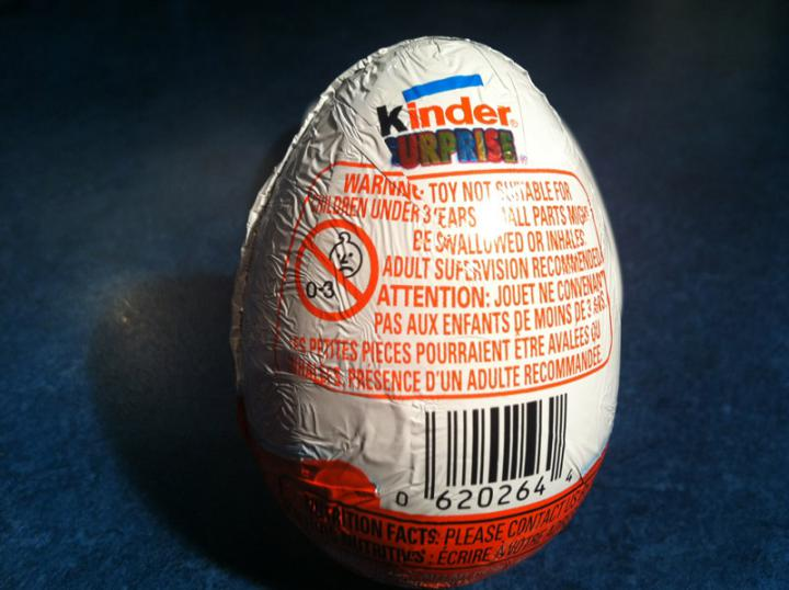 Kinder Surprise Small Parts Warning Label